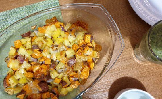 pieczony batat i ziemniaki z cebulą