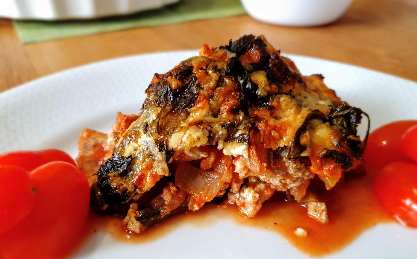 warzywna lasagne z bakłażanem i indykiem